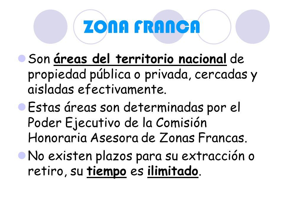 ZONA FRANCA Son áreas del territorio nacional de propiedad pública o privada, cercadas y aisladas efectivamente.