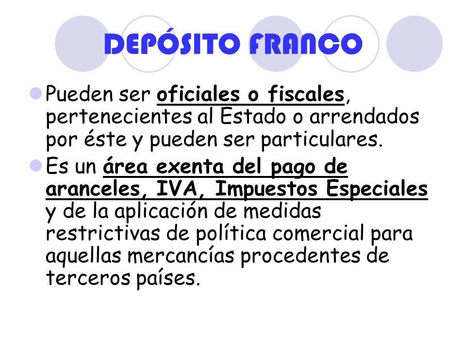 DEPÓSITO FRANCOPueden ser oficiales o fiscales, pertenecientes al Estado o arrendados por éste y pueden ser particulares.