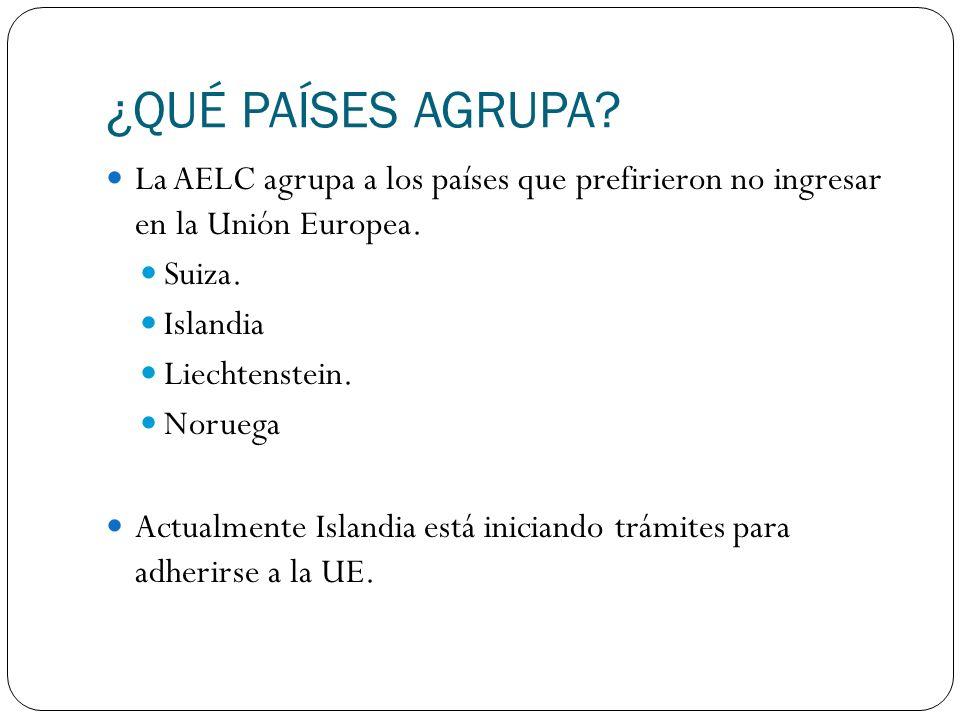 ¿QUÉ PAÍSES AGRUPA La AELC agrupa a los países que prefirieron no ingresar en la Unión Europea. Suiza.