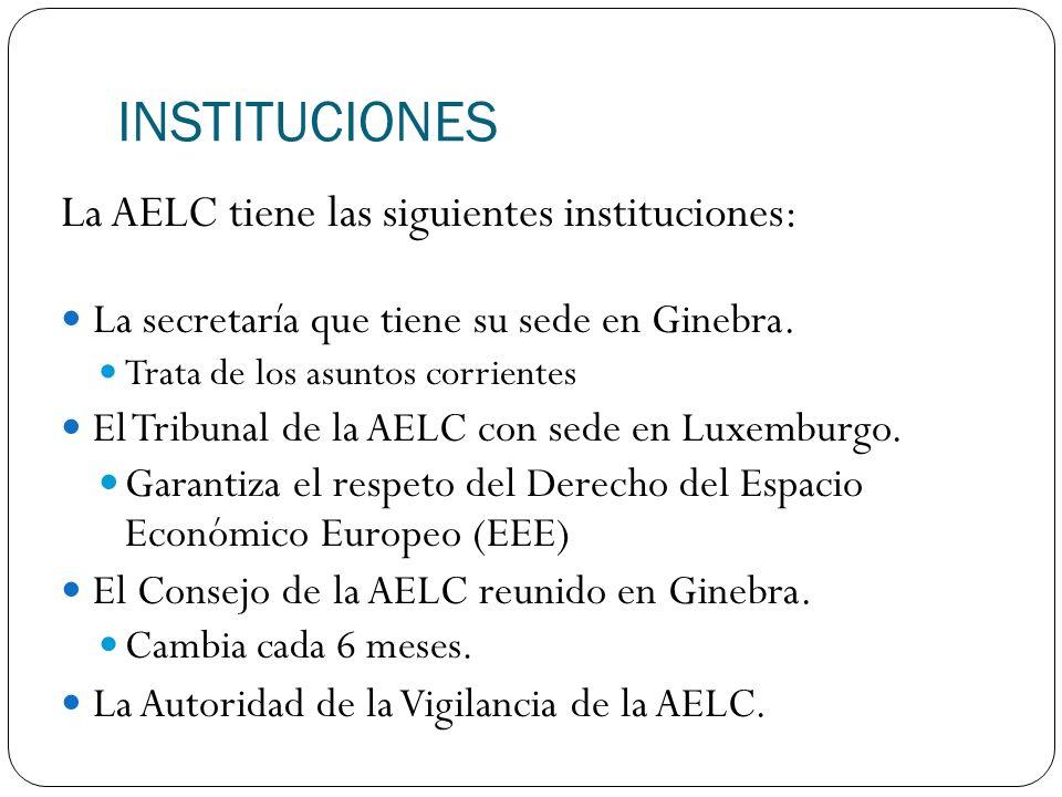 INSTITUCIONES La AELC tiene las siguientes instituciones: