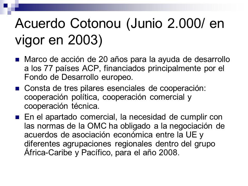 Acuerdo Cotonou (Junio 2.000/ en vigor en 2003)