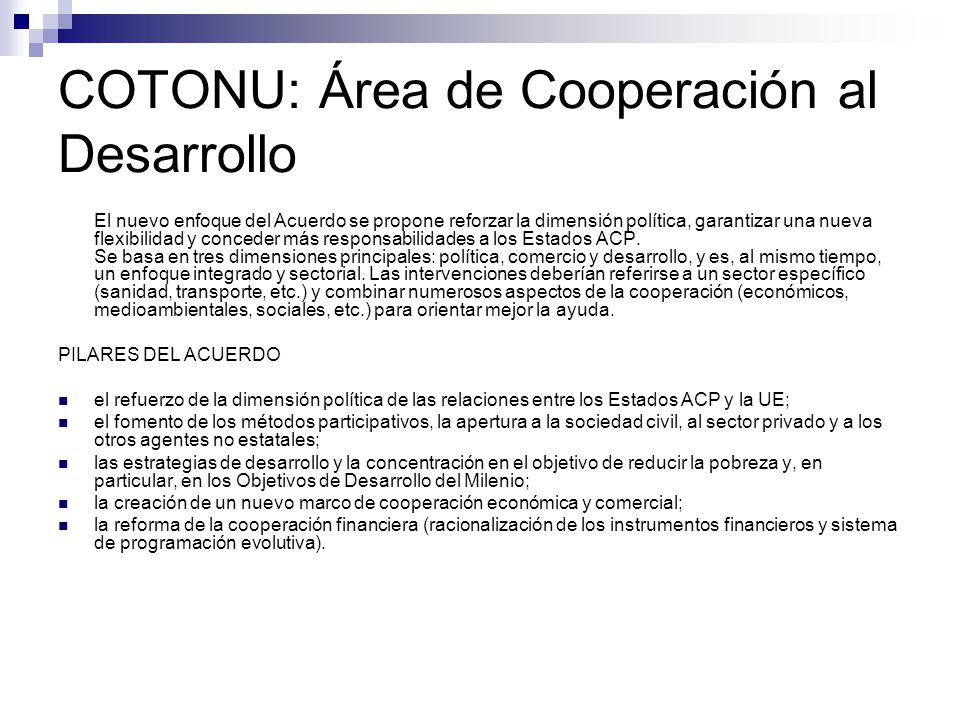 COTONU: Área de Cooperación al Desarrollo