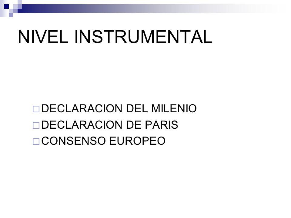 NIVEL INSTRUMENTAL DECLARACION DEL MILENIO DECLARACION DE PARIS