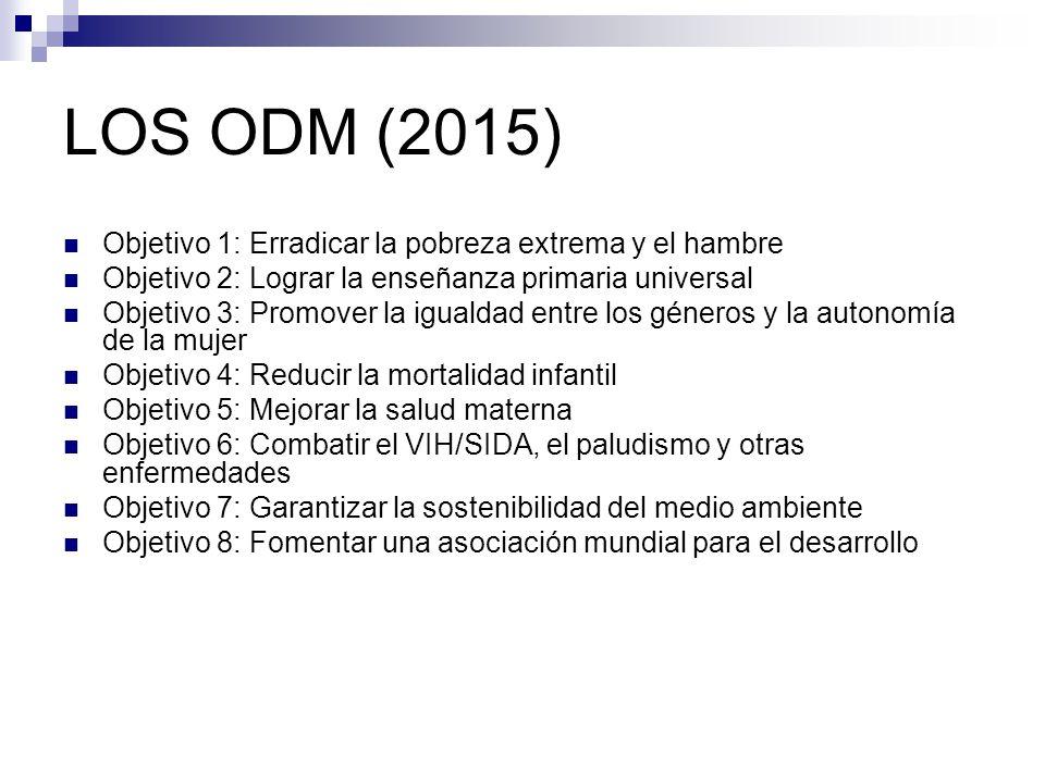 LOS ODM (2015) Objetivo 1: Erradicar la pobreza extrema y el hambre