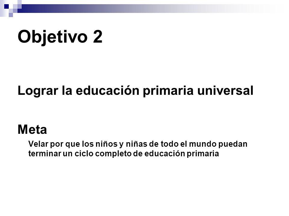 Objetivo 2 Lograr la educación primaria universal Meta