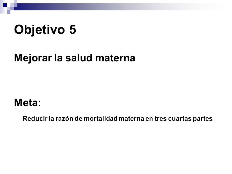 Objetivo 5 Mejorar la salud materna Meta: