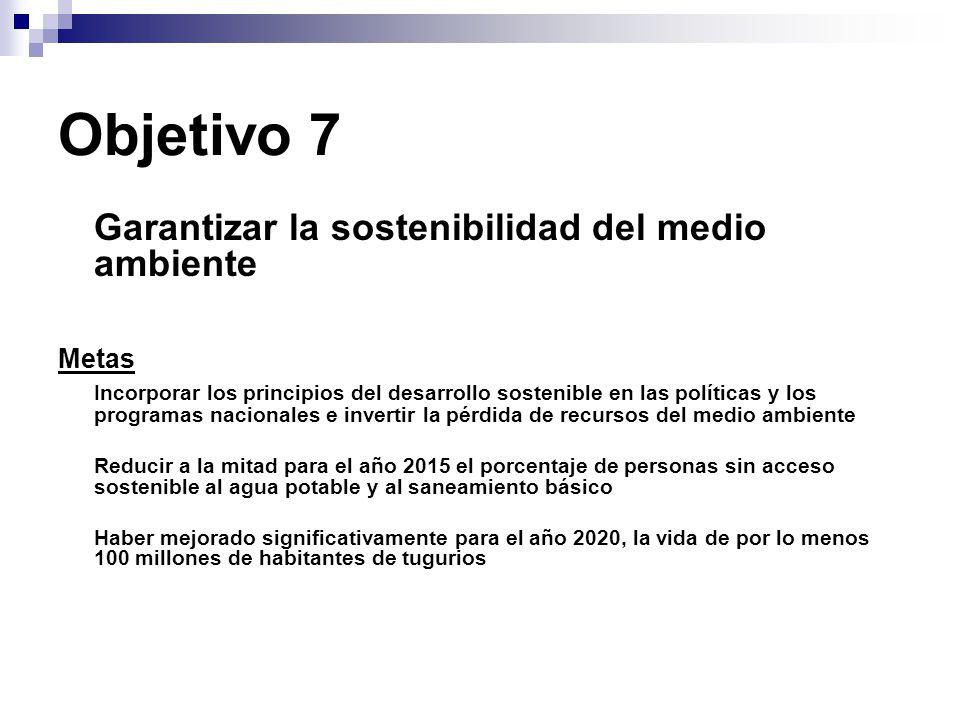 Objetivo 7 Garantizar la sostenibilidad del medio ambiente. Metas.