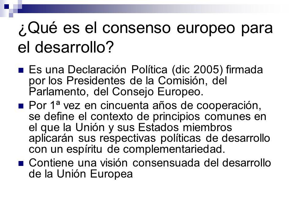 ¿Qué es el consenso europeo para el desarrollo