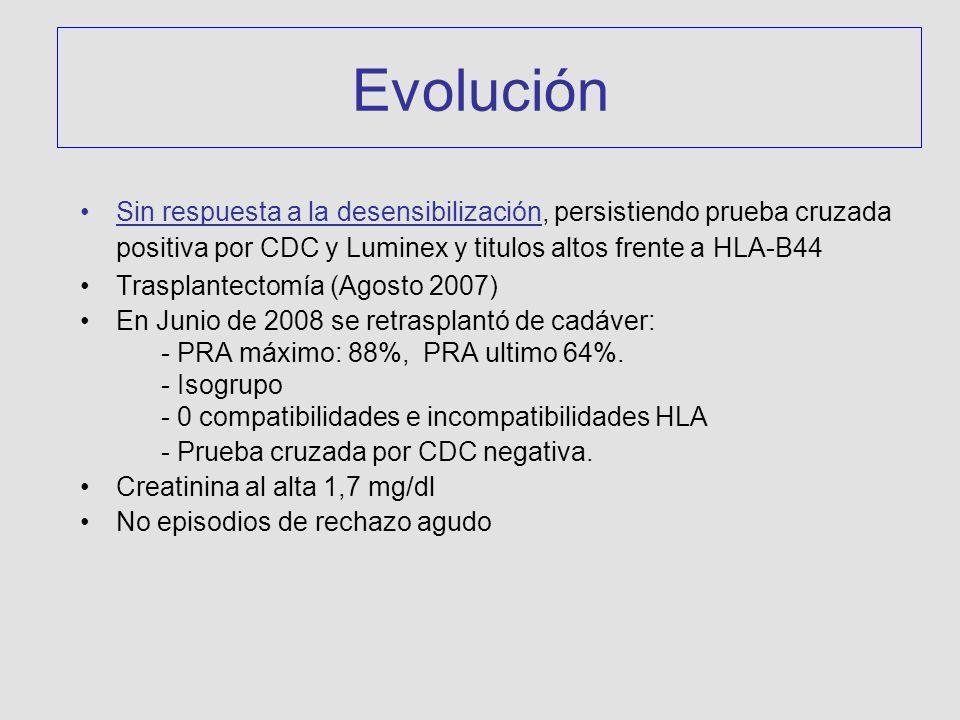 Evolución Sin respuesta a la desensibilización, persistiendo prueba cruzada positiva por CDC y Luminex y titulos altos frente a HLA-B44.