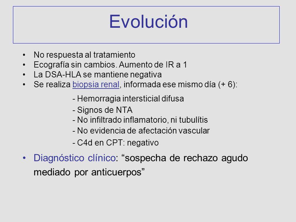 Evolución No respuesta al tratamiento. Ecografía sin cambios. Aumento de IR a 1. La DSA-HLA se mantiene negativa.