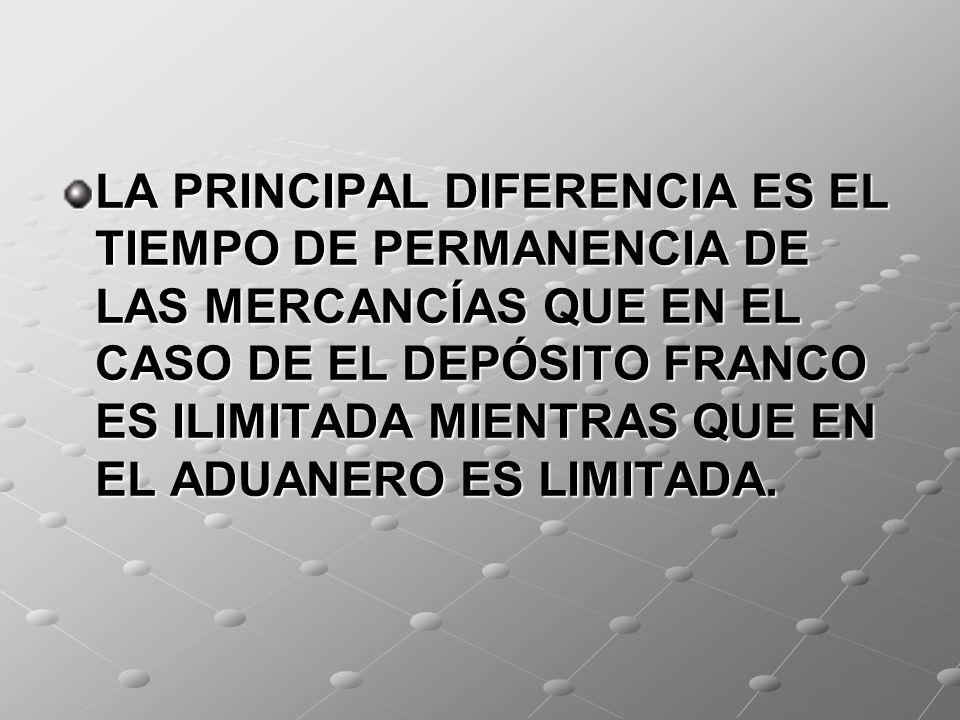 LA PRINCIPAL DIFERENCIA ES EL TIEMPO DE PERMANENCIA DE LAS MERCANCÍAS QUE EN EL CASO DE EL DEPÓSITO FRANCO ES ILIMITADA MIENTRAS QUE EN EL ADUANERO ES LIMITADA.