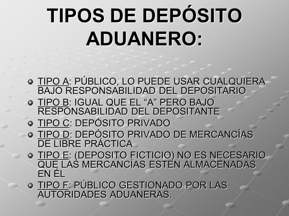TIPOS DE DEPÓSITO ADUANERO: