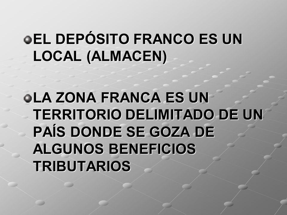 EL DEPÓSITO FRANCO ES UN LOCAL (ALMACEN)