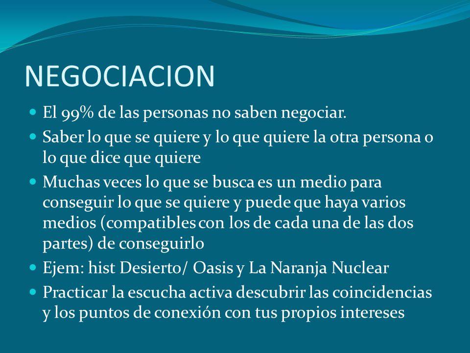 NEGOCIACION El 99% de las personas no saben negociar.