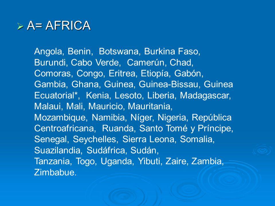 A= AFRICA Angola, Benin, Botswana, Burkina Faso, Burundi, Cabo Verde, Camerún, Chad,