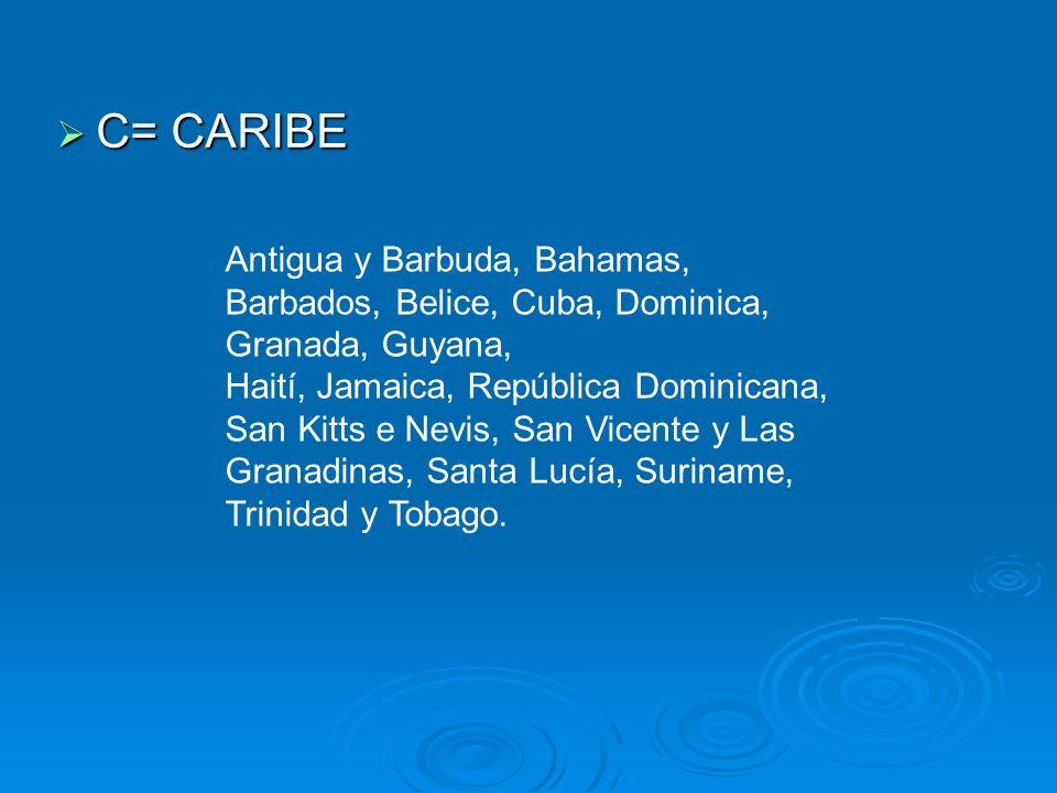 C= CARIBE Antigua y Barbuda, Bahamas, Barbados, Belice, Cuba, Dominica, Granada, Guyana,