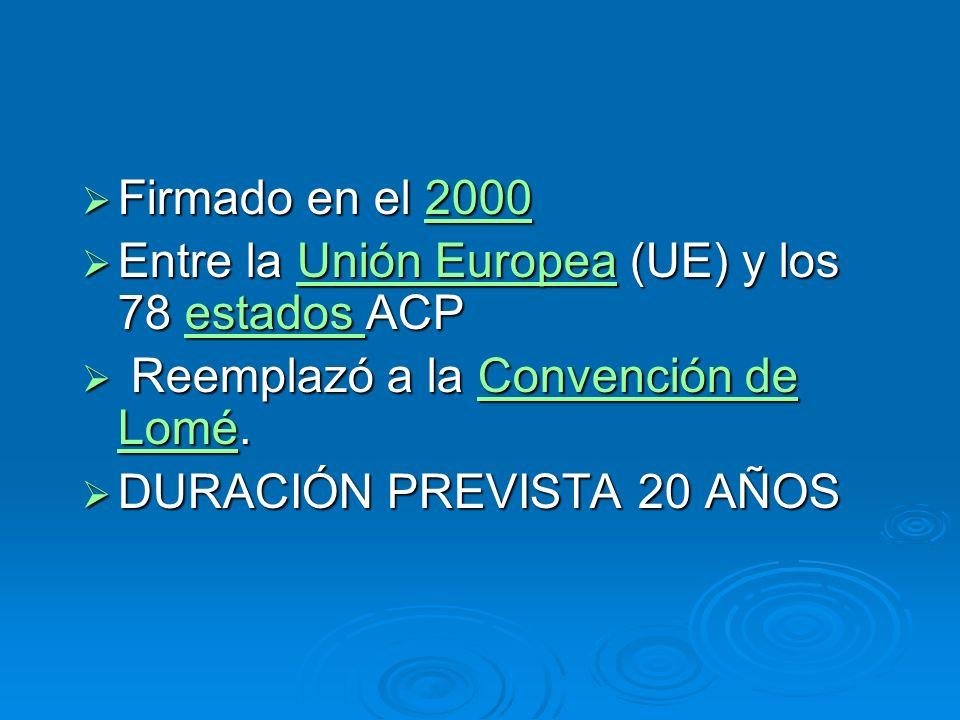 Firmado en el 2000 Entre la Unión Europea (UE) y los 78 estados ACP. Reemplazó a la Convención de Lomé.