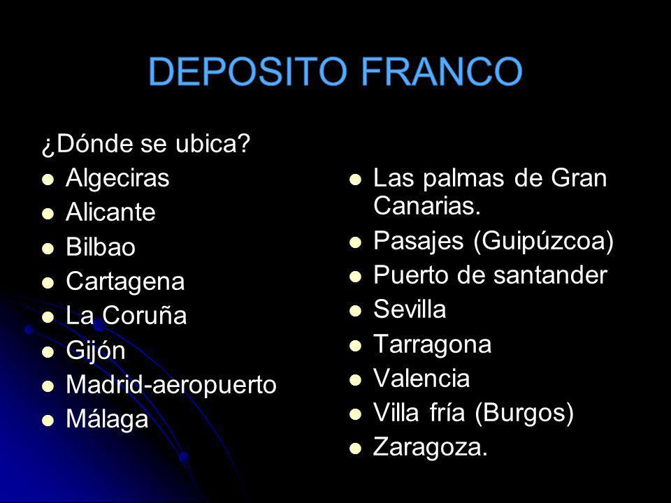 DEPOSITO FRANCO ¿Dónde se ubica Algeciras Alicante Bilbao Cartagena