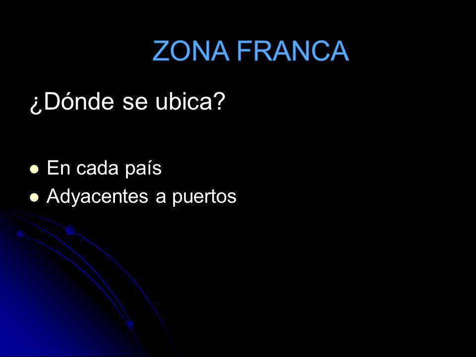 ZONA FRANCA ¿Dónde se ubica En cada país Adyacentes a puertos