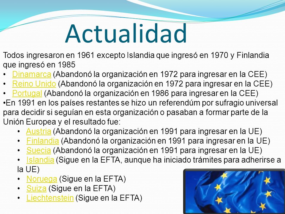 Actualidad Todos ingresaron en 1961 excepto Islandia que ingresó en 1970 y Finlandia que ingresó en 1985.