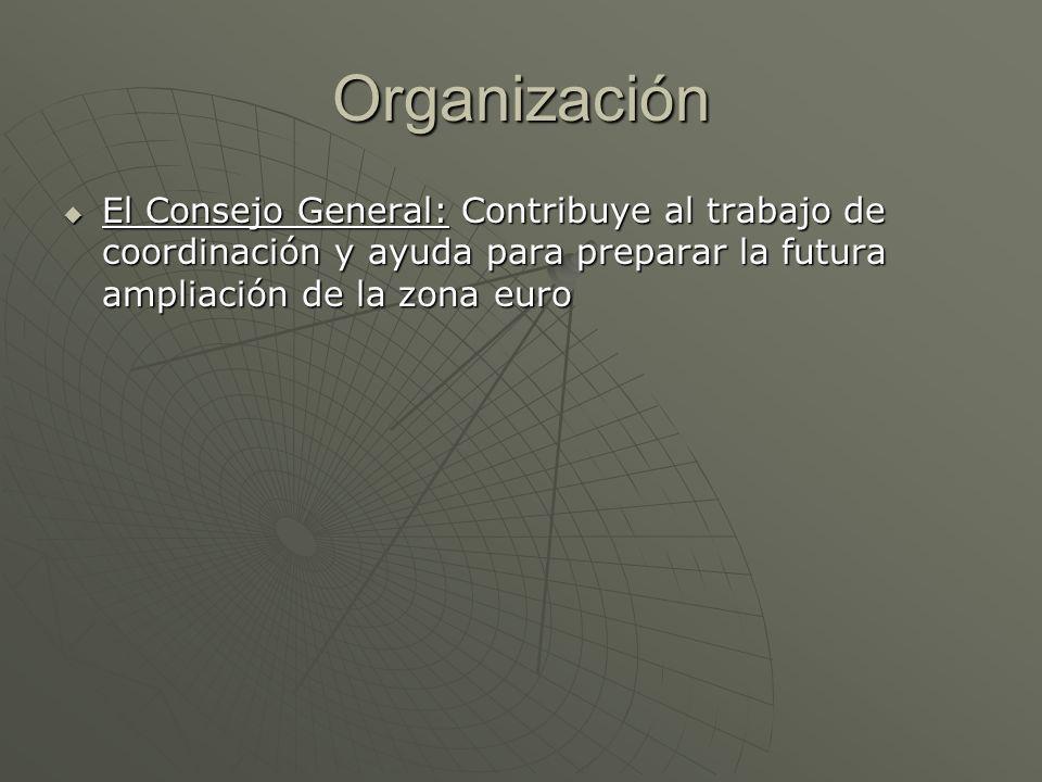 Organización El Consejo General: Contribuye al trabajo de coordinación y ayuda para preparar la futura ampliación de la zona euro.
