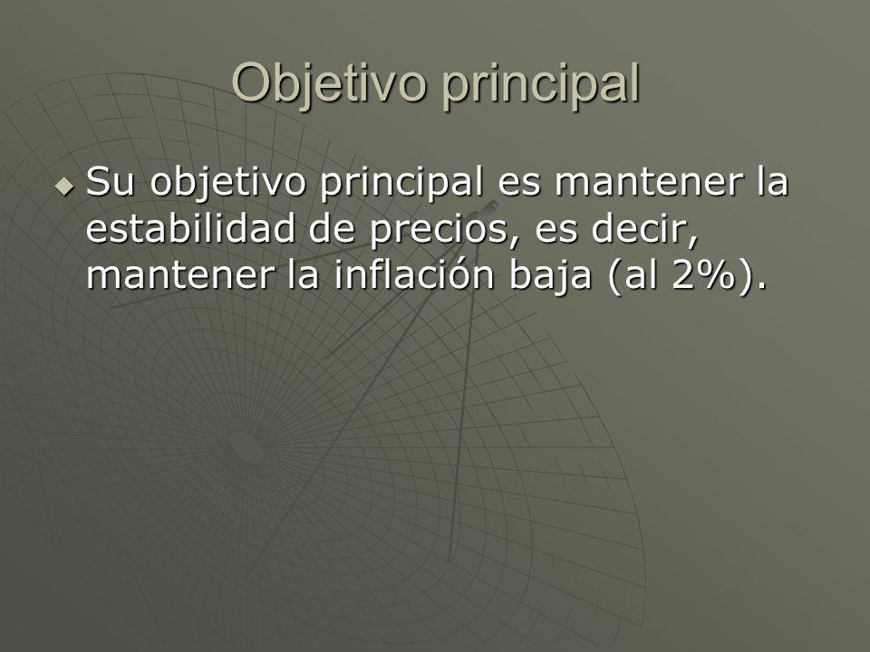 Objetivo principal Su objetivo principal es mantener la estabilidad de precios, es decir, mantener la inflación baja (al 2%).