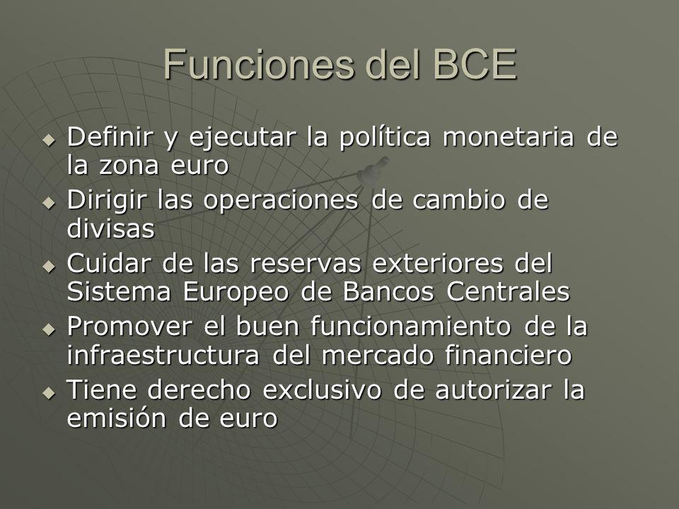 Funciones del BCE Definir y ejecutar la política monetaria de la zona euro. Dirigir las operaciones de cambio de divisas.
