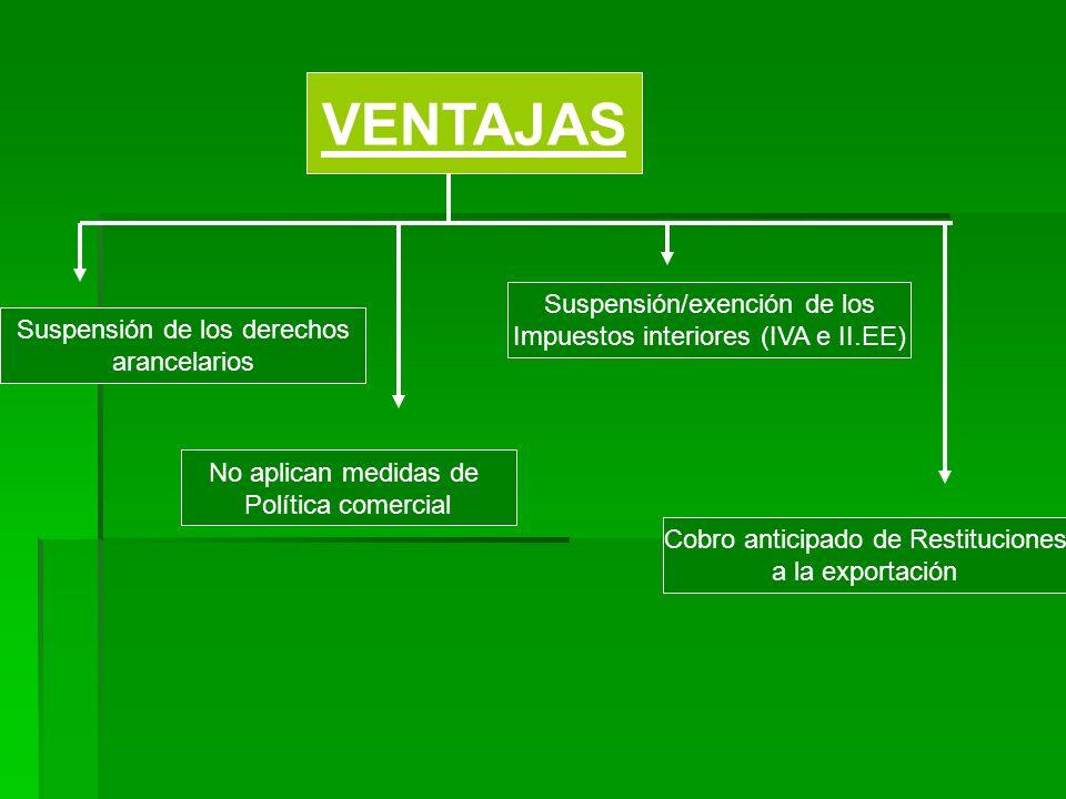 VENTAJAS Suspensión/exención de los Impuestos interiores (IVA e II.EE)