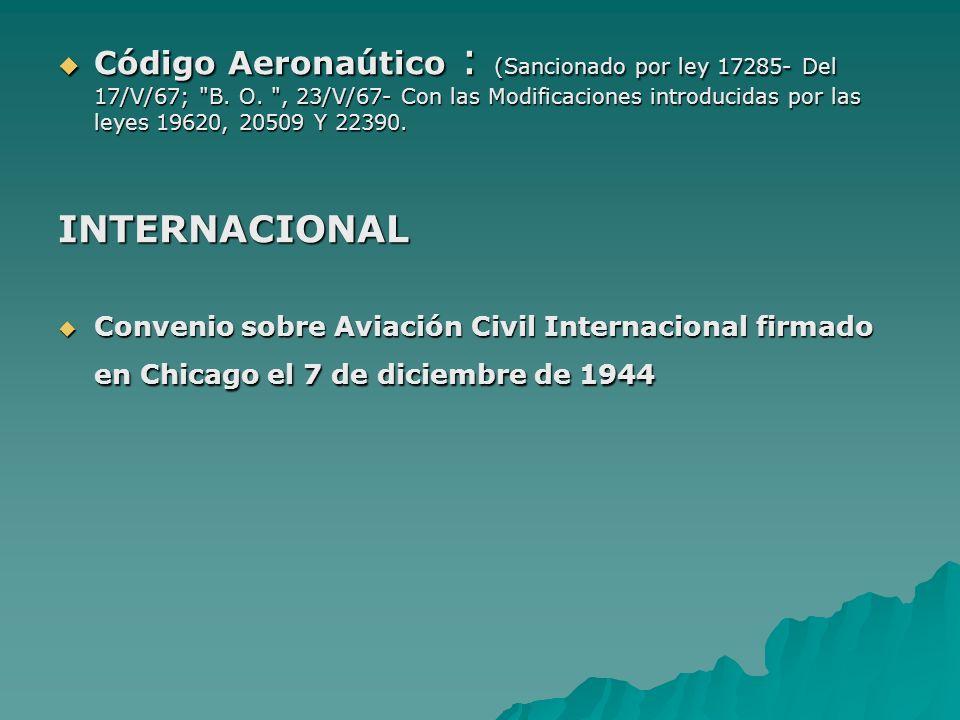 Código Aeronaútico : (Sancionado por ley 17285- Del 17/V/67; B. O