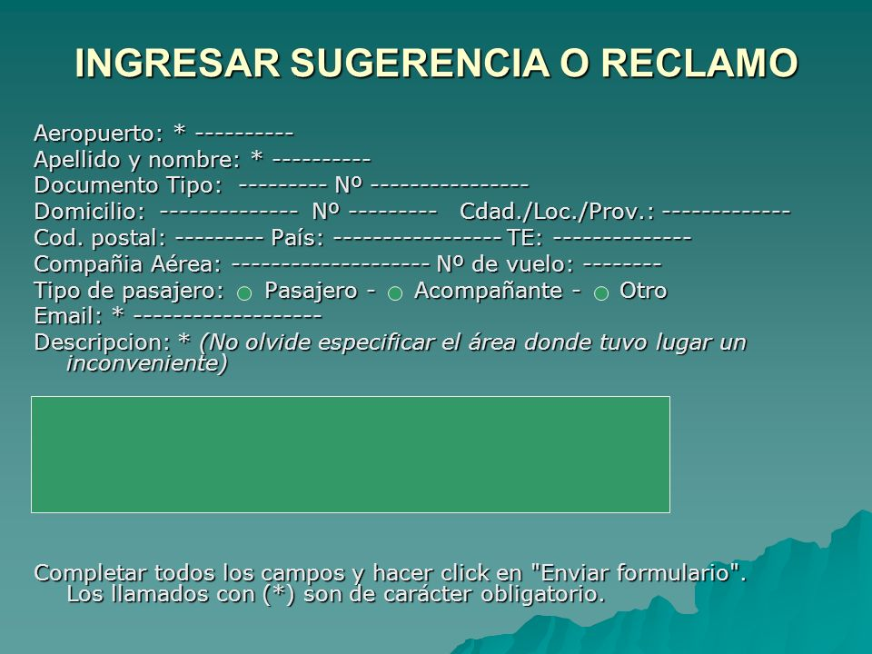 INGRESAR SUGERENCIA O RECLAMO