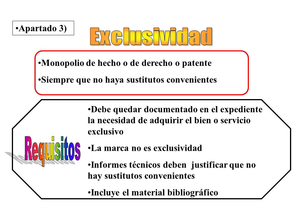 Exclusividad Requisitos Apartado 3)