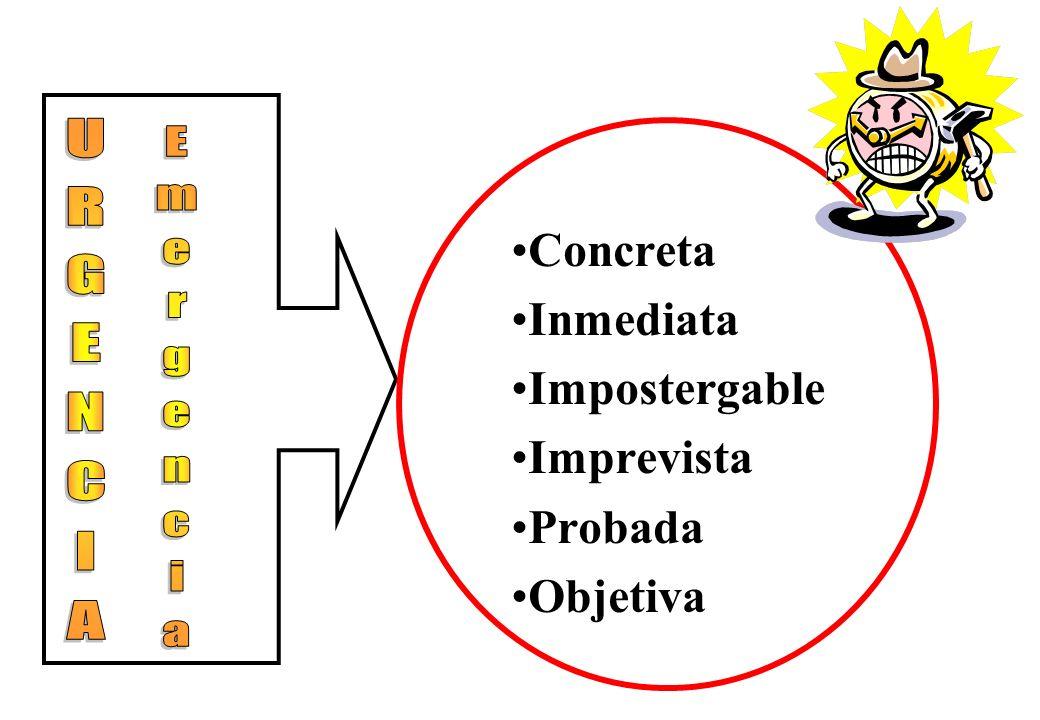 Concreta Inmediata Impostergable Imprevista Probada Objetiva URGENCIA Emergencia