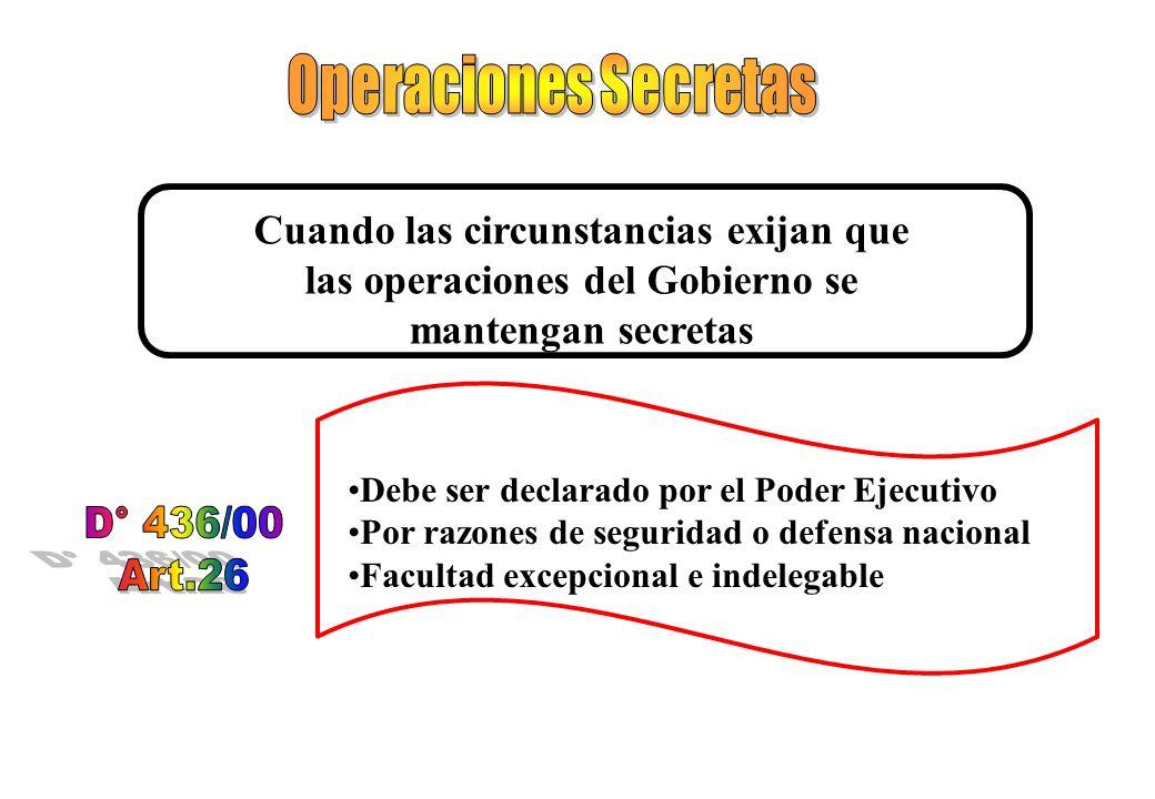 Operaciones Secretas D° 436/00 Art.26