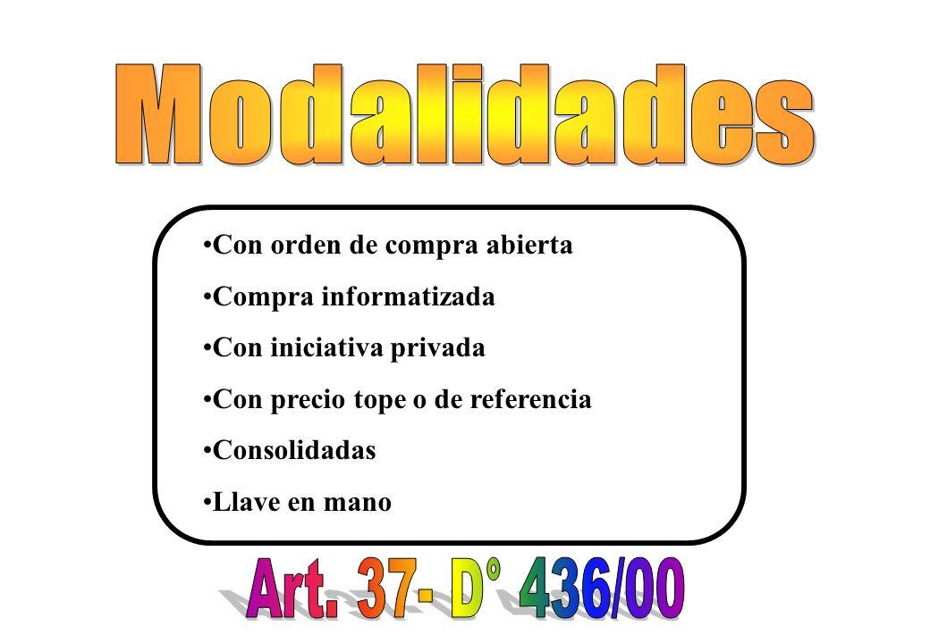 Modalidades Art. 37- D° 436/00 Con orden de compra abierta