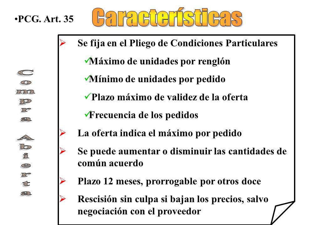 Características Compra Abierta PCG. Art. 35