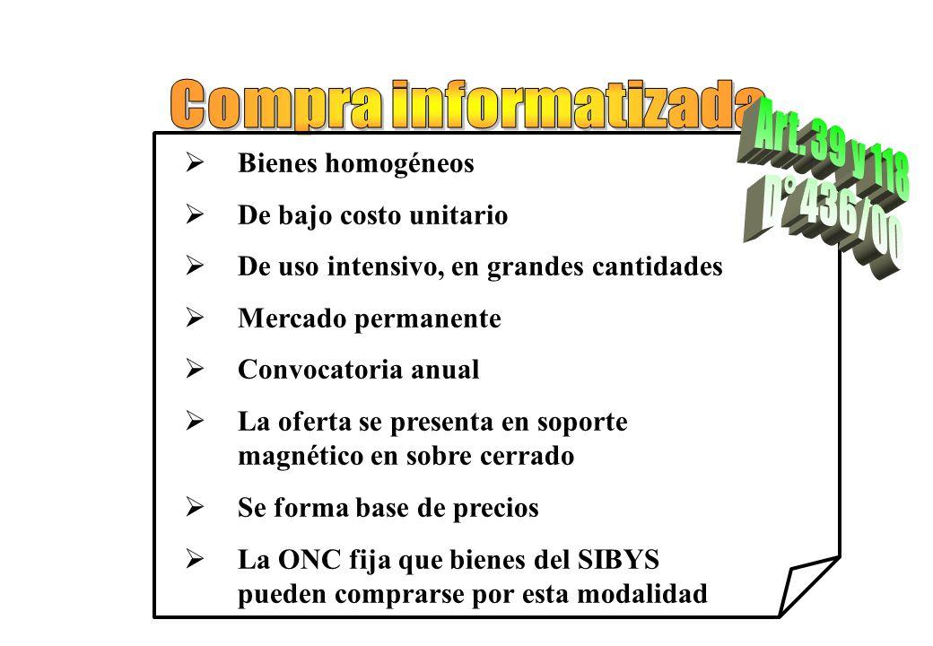Compra informatizada Art. 39 y 118 D° 436/00