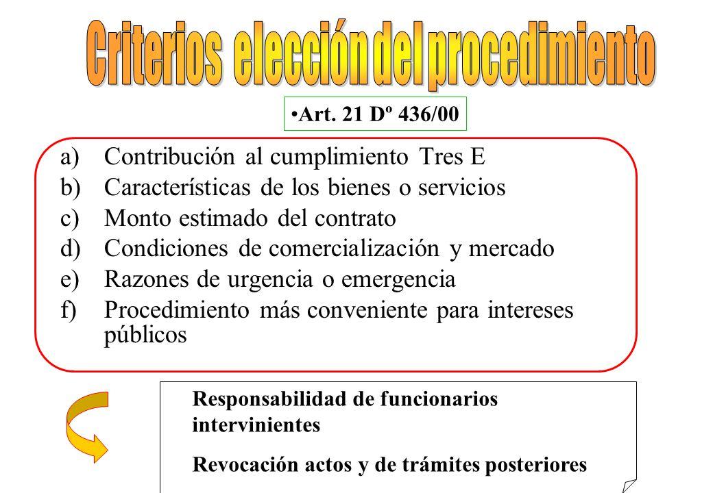 Criterios elección del procedimiento