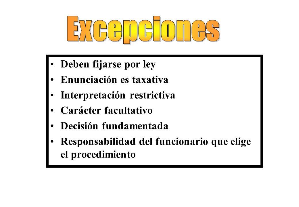 Excepciones Deben fijarse por ley Enunciación es taxativa