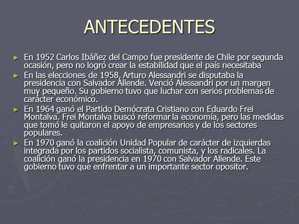 ANTECEDENTES En 1952 Carlos Ibáñez del Campo fue presidente de Chile por segunda ocasión, pero no logró crear la estabilidad que el país necesitaba.