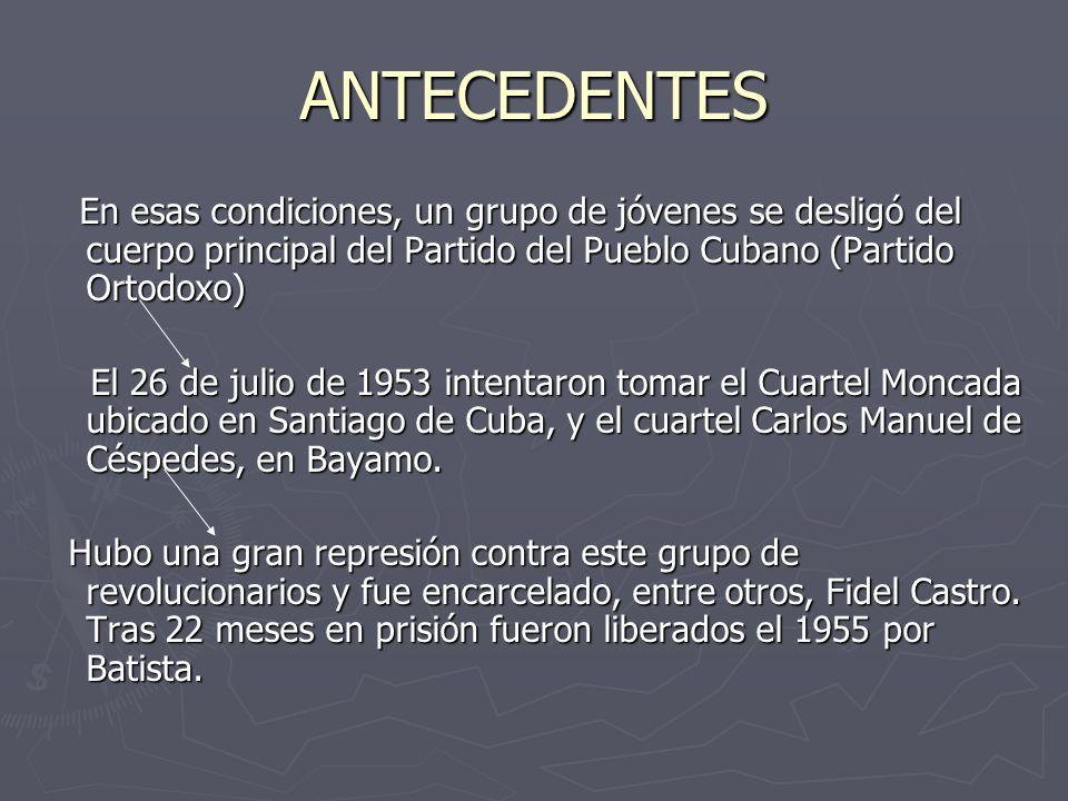ANTECEDENTES En esas condiciones, un grupo de jóvenes se desligó del cuerpo principal del Partido del Pueblo Cubano (Partido Ortodoxo)