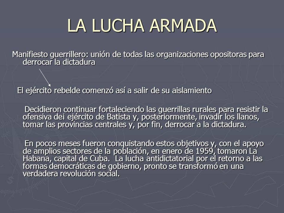 LA LUCHA ARMADA Manifiesto guerrillero: unión de todas las organizaciones opositoras para derrocar la dictadura.