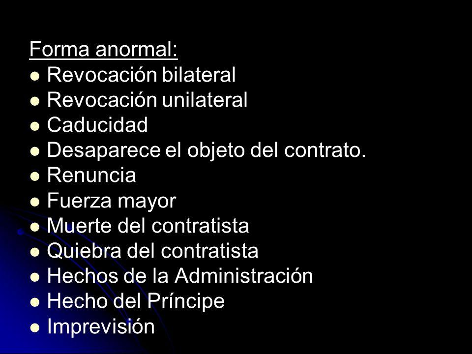 Forma anormal: Revocación bilateral. Revocación unilateral. Caducidad. Desaparece el objeto del contrato.