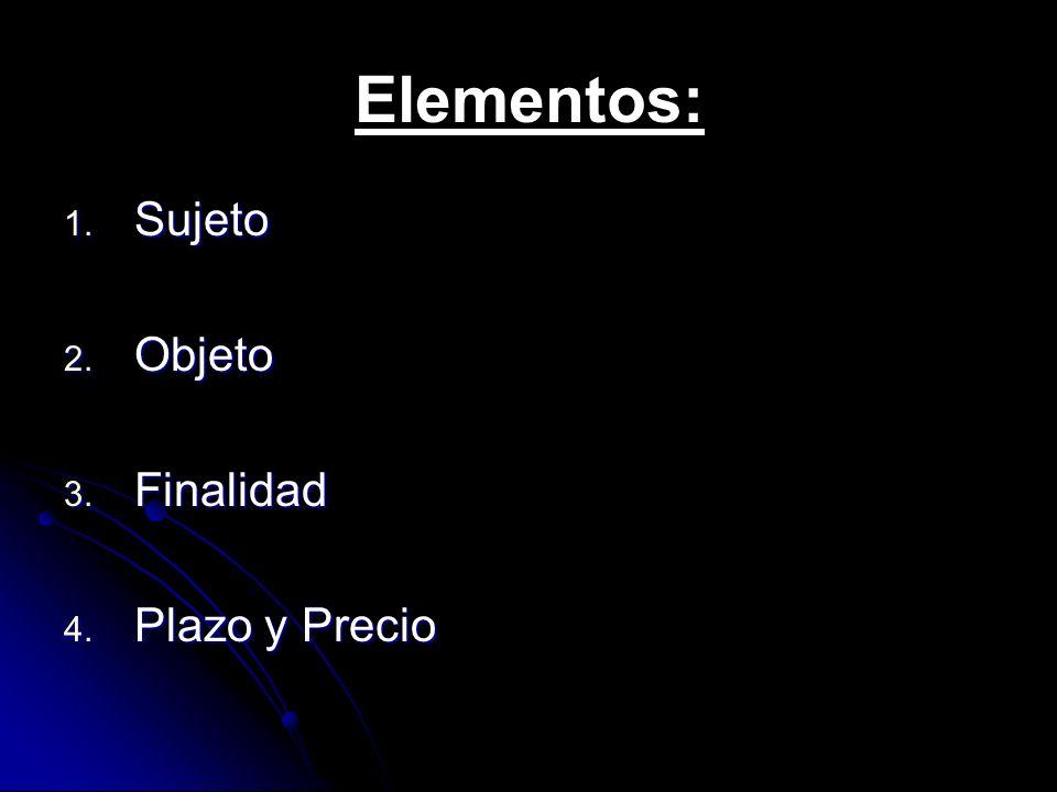 Elementos: Sujeto Objeto Finalidad Plazo y Precio