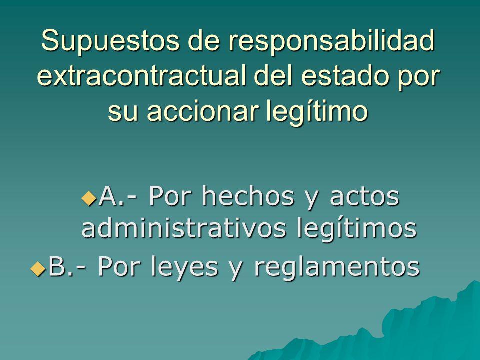 A.- Por hechos y actos administrativos legítimos