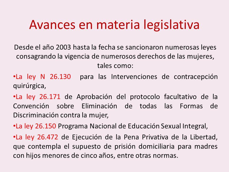 Avances en materia legislativa