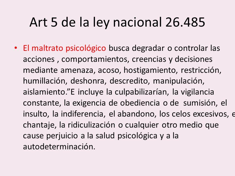 Art 5 de la ley nacional 26.485