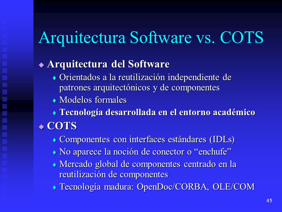 Arquitectura Software vs. COTS