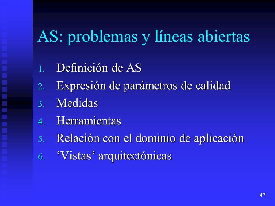 AS: problemas y líneas abiertas