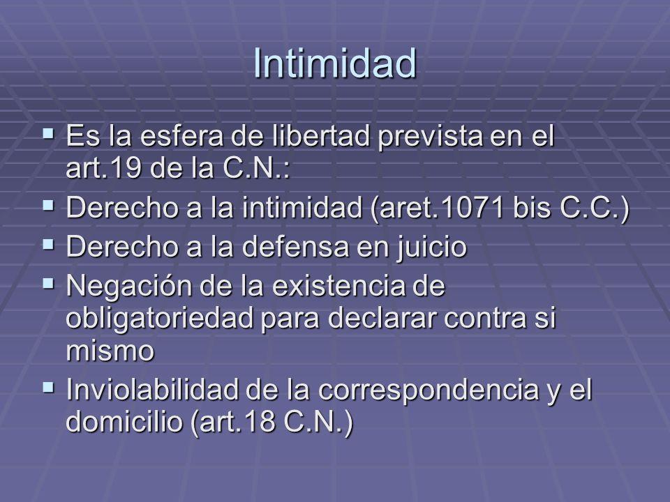 Intimidad Es la esfera de libertad prevista en el art.19 de la C.N.: