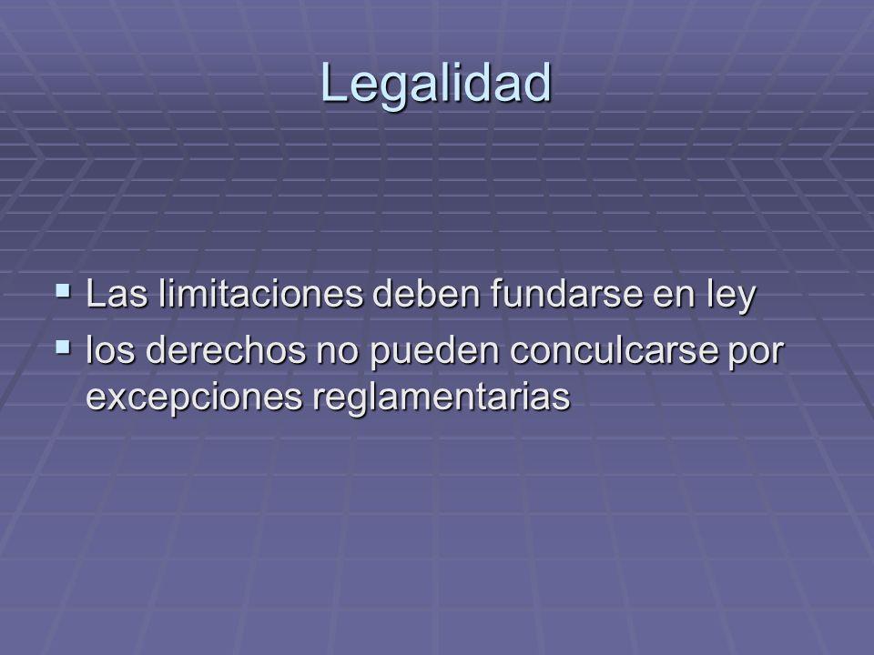 Legalidad Las limitaciones deben fundarse en ley